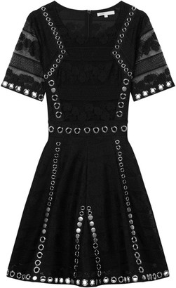 Maje Ranch Grommet-Trim Lace-Sleeve Dress