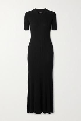 ANNA QUAN Sasha Open-back Ribbed Cotton Maxi Dress - Black