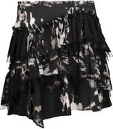 Roberto Cavalli Tiered tie-dyed washed-silk mini skirt