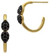 Freida Rothman Black Pavé Petal Hoop Earrings
