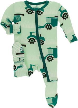 Kickee Pants Tractor Print Footie