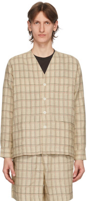 Bode Tan Schoolhouse Plaid Collarless Blazer