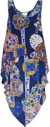 Camilla Star Gazer Asymmetric Printed Silk Crepe De Chine Top