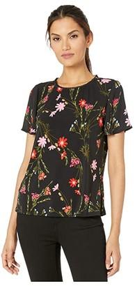 CeCe Flutter Sleeve Mix Media Enchanted Wildflower Top (Rich Black) Women's Clothing
