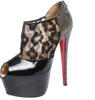 Christian Louboutin Black Leopard Print Lame Fabric and Patent Leather Aeronotoc Peep Toe Platform Booties Size 38