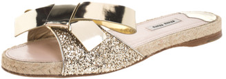 Miu Miu Gold Glitter And Leather Bow Flat Slides Size 39