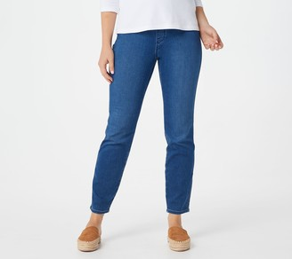 Susan Graver GRAVER Petite Knit Denim Pull-On Jeans