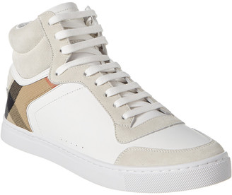 Burberry House Check Leather & Suede High-Top Sneaker