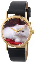 Whimsical Watches Kids' P0120025 Classic Persian Cat Black Leather And Goldtone Photo Watch