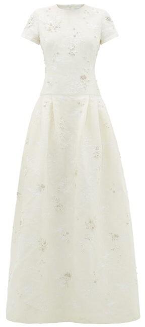 Erdem Alphonse Crystal-embellished Chantilly-lace Dress - Ivory