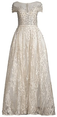 Mac Duggal Illusion Novelty Embroidery Sequin Ball Gown