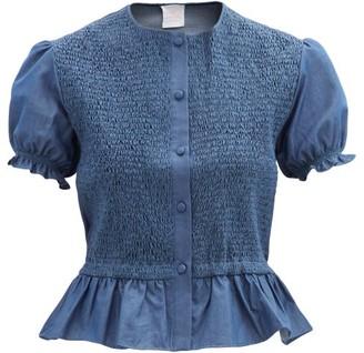 Loretta Caponi Francesca Shirred Peplum Cotton-percalle Blouse - Dark Blue