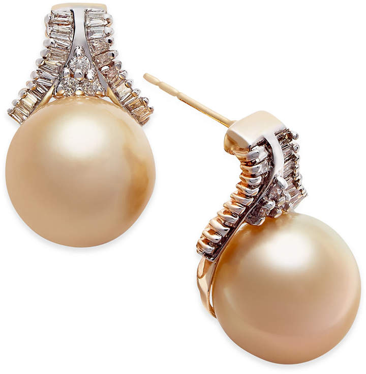 Macy's Cultured Golden South Sea Pearl (10mm) and Diamond (5/8 ct. t.w.) Stud Earrings in 14k Gold