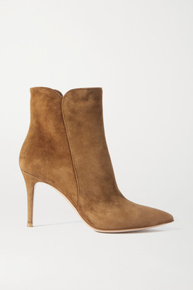Gianvito Rossi Levy 85 Suede Ankle Boots - Tan