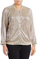 I.N.C International Concepts Plus Metallic Pleat Bomber Jacket