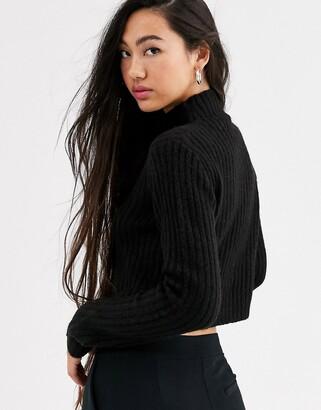 Monki high neck crop jumper in black