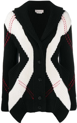 Alexander McQueen Exploded Argyle rib-knit cardigan