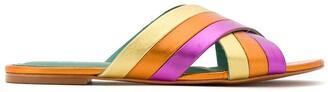 Blue Bird Shoes metallic leather Rainbow flats