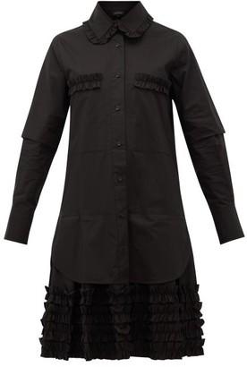 Lee Mathews Elsie Ruffle-hem Cotton-poplin Shirt Dress - Womens - Black