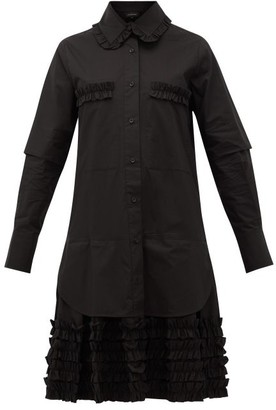 Lee Mathews - Elsie Ruffle-hem Cotton-poplin Shirtdress - Womens - Black