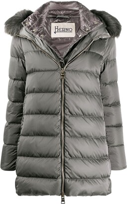 Herno Feather Down Padded Jacket With Faux Fur Trimmed Hood