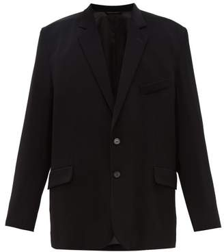 Balenciaga Exaggerated-shoulder Single-breasted Blazer - Mens - Black