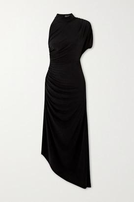 retrofete Monica Asymmetric One-sleeve Draped Jersey Dress - Black