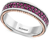 Effy Men's Ruby Band (1-1/2 ct. t.w.) in Sterling Silver, 18k Rose Gold and Black Rhodium-Plate
