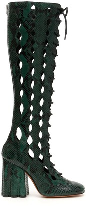 Marni Python Print Boots With Cut-outs