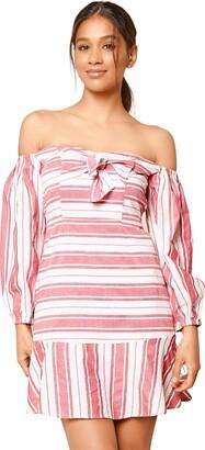 Sugar Lips Sugarlips Women's Persephone Off The Shoulder Striped Mini Dress