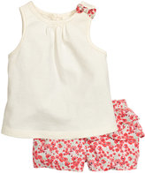 H&M Tank Top and Ruffled Shorts - White/patterned - Kids
