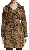 Jane Post Leopard-Print Trench Raincoat