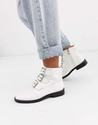 Glamorous front buckle boots in mock croc-White
