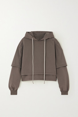 Rick Owens Hustler Cropped Layered Cotton-jersey Hoodie - Light gray