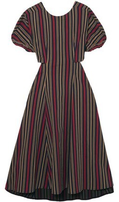 Tome Flared Cutout Striped Cotton-blend Midi Dress