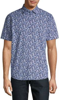 Saks Fifth Avenue Floral-Print Short-Sleeve Button-Down Shirt