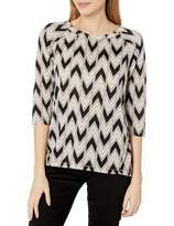 Tresics Women's Trendy Basic Junior Wide Neck 3/4 Sleeve Raglan Pullover