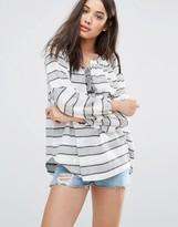d.RA Cecile Lace Up Front Stripe Blouse