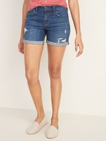 Old Navy Mid-Rise Slim Midi Distressed Jean Shorts for Women - 5-inch inseam