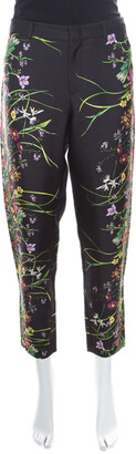 Gucci Black Floral Printed Silk Tapered Pants S