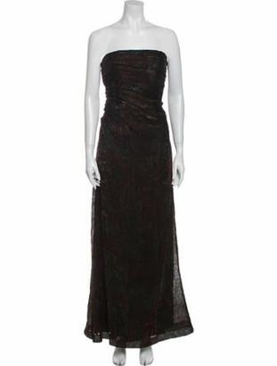 Carmen Marc Valvo Strapless Long Dress Brown