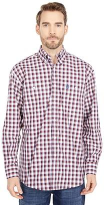 Wrangler George Strait Two-Pocket Plaid Button (Burgundy) Men's Clothing
