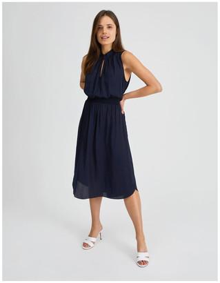 Basque Shirred Waist Midi Dress