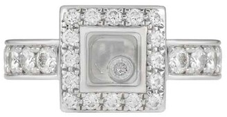 Chopard Pre-Owned 18kt white gold diamond Happy square ring