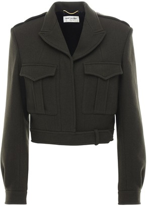 Saint Laurent Cropped Wool Gabardine Military Jacket