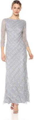Adrianna Papell Women's Beaded Crosshatch Design Long Sleeve Gown Petite