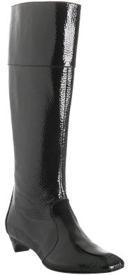 Fendi black pebbled patent low heel boots