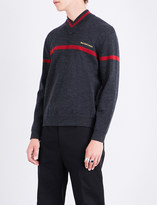 Balenciaga V-neck wool-blend jumper