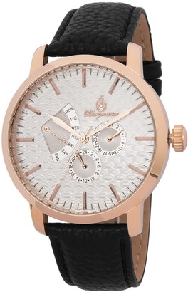 Burgmeister Men's Quartz Watch with White Dial Analogue Display and Black Leather Bracelet BM219-312