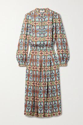Tory Burch Printed Crepe Midi Dress - Brown